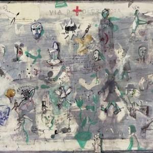 """צבי טולקובסקי, ויה דולורוזה, 2008, דבק, צבעי מים, עיפרון, עט לבד ודיו על נייר 121X80 ס""""מ"""
