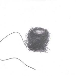 """שיבץ כהן, קצה חוט 6, 2009, גרפיט על נייר 32.5X25.5 ס""""מ"""