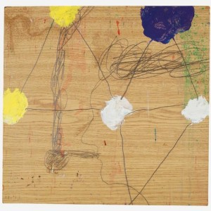 """רפי לביא, בלא כותרת, 2004 ,עיפרון וצבעי אקריליק על עץ לבוד 38.5X37 ס""""מ"""