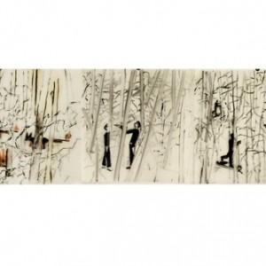 """רונן סימן טוב, השליחים, 2008, צבעי שמן על נייר פרגמנט 30X30 ס""""מ"""