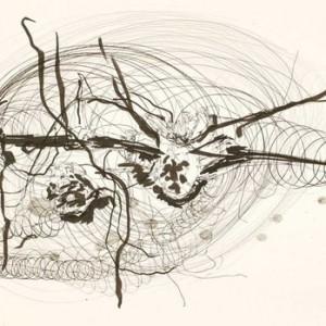 """יהודית סספורטס, מן הסדרה """"הלבבות המגנטיים"""" מס' 70, 2008, עיפרון ודיו על נייר 59.5X42 ס""""מ"""