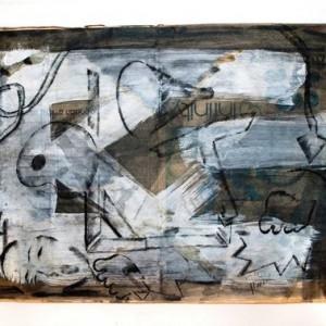 """ירמי עדני, בלא כותרת, 2005, גרפיט, צבעי אקריליק ואבקת צבע על עיתון 57X41 ס""""מ"""
