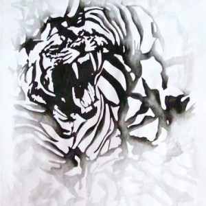 """קרן ענבי, בלא כותרת, (פרט), 2009, דיו על נייר 150X500 ס""""מ"""