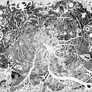 """שאול צמח, תלכיד, 2005-2007, חיתוך-נייר 100X70 ס""""מ"""