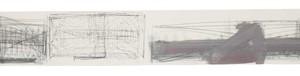 """משה קופפרמן, מגילה, 1992, צבעי שמן, גרפיט ועיפרון על נייר 128X15 ס""""מ"""