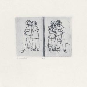"""אסתר קנובל, מן הסדרה """"מלאכת מחשבת"""", 2006, תצריב מלוח אלומיניום מחורר ותפור בחוט ברזל 28X28 ס""""מ"""