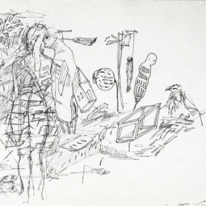 """Dror Karta, From the """"Fuck You I Love You Too"""", series, 2009, Pen on paper 21x30 cm"""