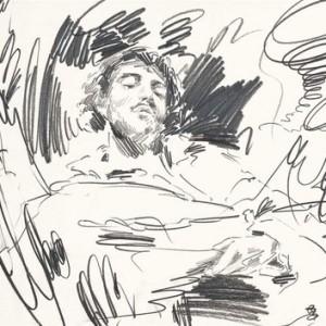 """יוסף קריספל, קורבה ישן, 2009, עיפרון על נייר 50X35 ס""""מ"""