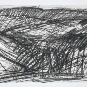 """אלכס קרמר, גיא בן הינום, 2009, פחם על נייר 38X28 ס""""מ"""