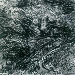 """לאופולד קרקואר, נוף הררי, 1936, גיר שמן על נייר 39.1X43.6 ס""""מ"""