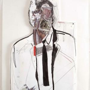 """אורי רדובן, בלא כותרת, 2009, הדבק, עיפרון ודיו על נייר 49X65 ס""""מ"""