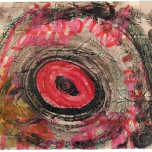 """אסף רהט, בלא כותרת, 2008, סרט הדבקה, עט לבד ודיו על נייר 40.5X30 ס""""מ"""