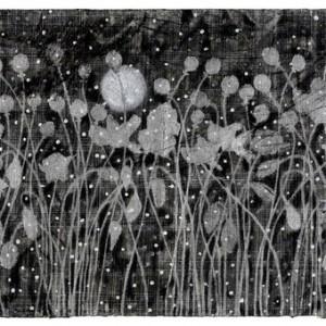 """אסף רומאנו, בסבך השכחה, 2010 גרפיט, פחם ועט לבד כסף על נייר 57X38 ס""""מ"""
