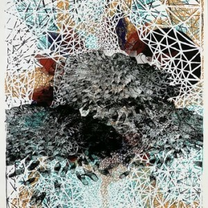 Etty Abergel, Unraveled Lattice, 2008, Watercolor, acrylic, ink and gold felt-tip pen on paper 73x55cm