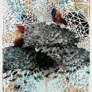 """אתי אברג'ל, שטיח, 2007, הדפס-רשת על נייר 76X106 ס""""מ"""