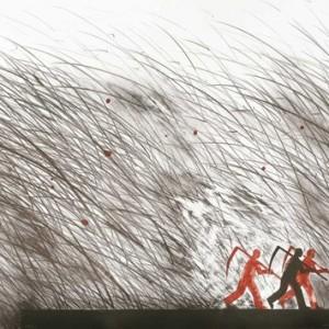 """אברהם אילת, אנשים ברישום, 2010, הדפס-אבן על נייר 70X50 ס""""מ"""