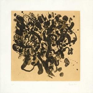 """פמלה סילבר, רקמת רגשות, 2007, אקווטינטת-סוכר ו-Chine colle על נייר 40.5X41 ס""""מ"""