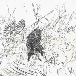 """יוסף קריספל, ריקוד עם עור של בופלו, 2008, עיפרון על נייר 65.5X50 ס""""מ"""