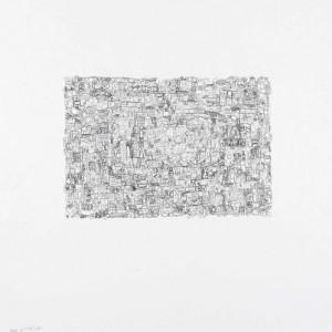 Emil Abraham, Erasure no. 4, 2009, Acrylic, pencil and ball-point pen on newspaper 36.7x26 cm