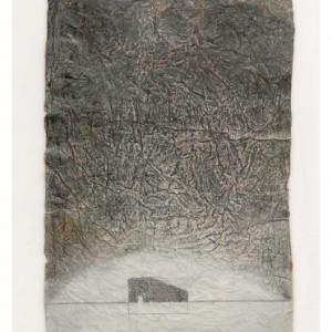 """דיויד אייזקס, מקלט, 2009, גואש וגרפיט על נייר עשוי ביד 77x112 ס""""מ"""