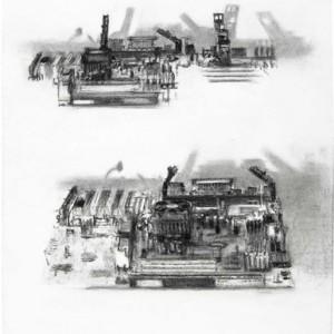 """ימימה ארגז, עיר מס' 6, מן הסדרה """"ערים סמויות"""" (על-פי לוחות-אם של מחשבים), 2007, פחם על נייר 50.5X65.5"""