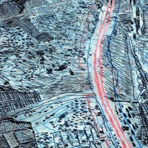 """נורית גור-לביא (קרני), כביש 6 (פרט),2007, עט לבד ועיפרון שמנוני על פרספקס 68X155 ס""""מ"""