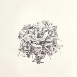 """יואב ויס, בלא כותרת, (ערימה 2) 2010 עיפרון על נייר 130X100 ס""""מ"""