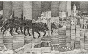 """Lena Zaidel, Fence no. 2, from the """"Broken Hearted City Center"""" series, 2009, Pencil on paper 33x90 cm"""