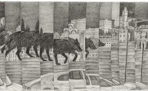 """לנה זידל, גדר מס' 2, מן הסדרה """"שברון לב העיר"""", 2009, עיפרון על נייר 90X33 ס""""מ"""