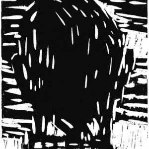 """עודד זידל, בלא כותרת, 2009, חיתוך-עץ על נייר 16X21 ס""""מ"""