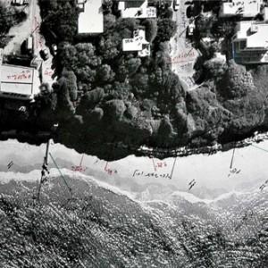 """שמעון לב, סבך משפטי: """"שדה נגד לב"""", 2010, דיו על תצלום אוויר של יפו 45X29 ס""""מ"""