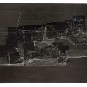 """יוכי נגב, מונטיפיורי דרום, 2009, הדבק תצלום מעובד, צבעי אקריליק ודיו על קרטון 101X71 ס""""מ"""