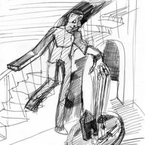 """גנדי צכמייסטר, בלא כותרת, 2010, מתווה למיצב, עט לבד על נייר 21X29.5 ס""""מ"""
