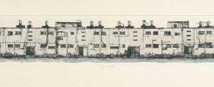 """דפנה שרתיאל, פינוי-בינוי, 2008, הדפס מונופרינט ותחריט יבש על נייר 100X25 ס""""מ"""