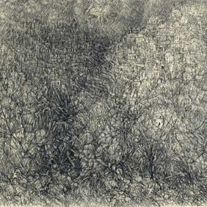 """אנה טיכו, הרי ירושלים, 1965, עיפרון וגיר על נייר 47.8X43.3 ס""""מ"""