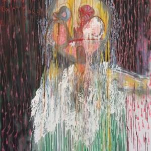 """איש 2011, צבע שמן, ספריי, דיו תעשייתי וטושים על בד 120X150 ס""""מ"""