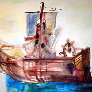 """ספינה, 2010 אקריליק על נייר 70X110 ס""""מ"""