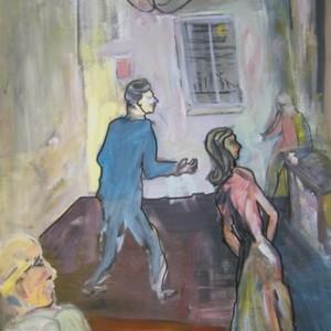 """חדר, 2010 אקריליק על נייר 70X110 ס""""מ"""