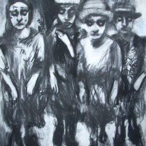 Women of Jerusalem, 2005 Charcoal 75X60 cm