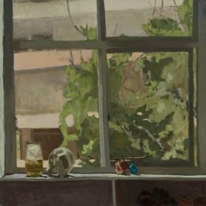 """חלון גדול - מרגלית דבי , 2010 ,שמן על בד, 127X127 ס""""מ"""