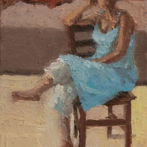 """טל בשמלה כחולה - מרגלית דבי, 2008 , שמן על בד, 20X25 ס""""מ"""