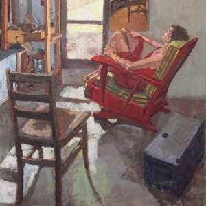 """ליסון וכסאות - מרגלית דבי, 2011 , שמן על פשתן, 122X152 ס""""מ"""