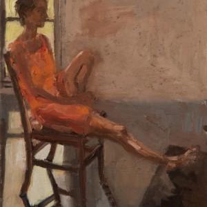 """ליסון לפני החלון הארוך - מרגלית דבי, 2008 , שמן על בד, 28X32 ס""""מ"""