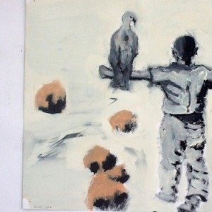 Young Man and Eagle, 2007 oil on paper 30X30 cm.
