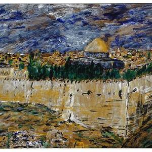 ירושלים , העיר העתיקה , הר הבית , 1990 אקרוליק על מזוניט 50-70 סמ'