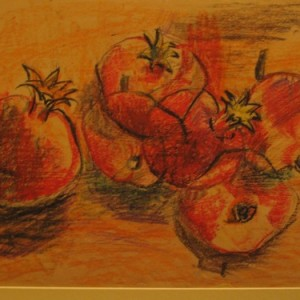 pomegranates, 2002 charcoal and oil sticks 40X60