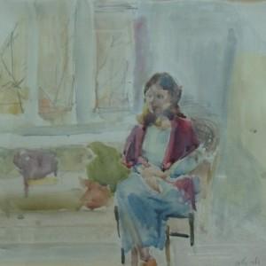 אשה ליד החלון, 1992 אקוורל 40X40