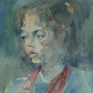 Portrait of a Girl, 1990 aquarelle 40X36