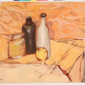 Still life - Ben-Shaul David, 1982, Tempra on paper