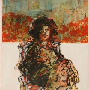 Portrait of Tara - Ben-Shaul David, 1997, Oil on paper, 104X68 cm